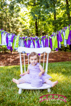 backyard ONE session with purple and gold theme in Cary