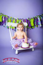 Duke and Purple and white themed first birthday photography