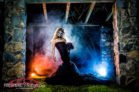 Halloween-inspired-styled-shoot-at-night-at-Raleigh-Rose-Garden-with-Theatrical-smoke-and-red-and-black-theme